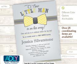 Gray Yellow Bow Tie Little Man Baby Shower Invitation,butter, mustard chevron baby shower, polka bow tie in chevron pattern