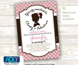 Vintage Classy and Fabulous girl bithday invitation. Pink, brown, retro invitation