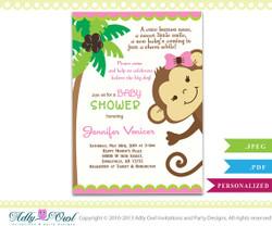 Girl Monkey Invitation, Jungle Girl Baby Shower Card for a baby shower.Monkey in Jungle,palm, bow,cute,diy, printabble