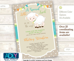 Paste Gender Neutral Little Lamb Baby Shower Invitation for a Nautral Shower, Printable Sheep/Lamb Card, beige,turquoise, green