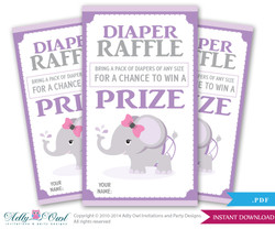 Purple Gray Elephant Diaper Raffle Tickets Printables for Baby Girl Shower DIY pink, violet chevron