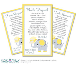 Elephant Book Request Card for Yellow/Gray Baby Shower, He/She Silver Baby Girl Shower DIY chevron - ONLY digital file - you print