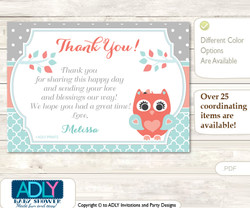 Coral Owl Thank you Printable Card with Name Personalization for Baby Shower or Birthday Party