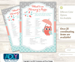 Coral Owl What is in Mommy's Purse, Baby Shower Purse Game Printable Card , Aqua,  Grey