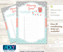 Coral Owl Memory Game Card for Baby Shower, Printable Guess Card, Aqua, Grey