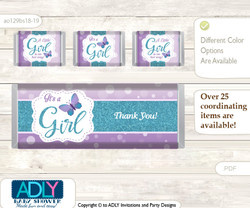 Purple Butterfly Chocolate Bar Wrapper and Nuggets Candy Wrapper Label for Baby Purple Shower  Bokeh , Turquoise