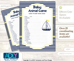 Printable Nautical Boy Baby Animal Game, Guess Names of Baby Animals Printable for Baby Boy Shower, Navy, Grey
