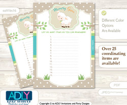 Neutral Lamb Memory Game Card for Baby Shower, Printable Guess Card, Polka, Beige