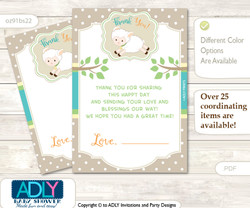 Neutral  Lamb Thank you Cards for a Baby Neutral Shower or Birthday DIY Polka, Beige