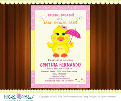 Personalized Duck Girl Baby Shower, Girl Rubber Duck Shower Printable DIY party invitation for boy  or girl- ONLY digital file - you print