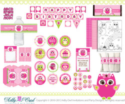 Pink Owl Girl Happy Birthday Printable Party Kit with girl owls,favor tags, thank you, banner,labels - ONLY digital file - you print ao05