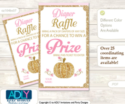 Girl Pumpkin Diaper Raffle Printable Tickets for Baby Shower, Pink Gold, Glitter