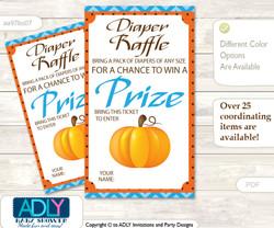 Boy Pumpkin Diaper Raffle Printable Tickets for Baby Shower, Blue Orange, Chevron