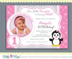 Pink Snowflake Penguin Girl Happy Birthday invitation Printable DIY for first birthday, winter birthday - ONLY digital file - ao54