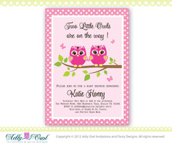 Twin Owls Personalized  Pink or Purple, Lilac Twins Owl Baby Shower Printable DIY party invitation - ONLY digital file - you print
