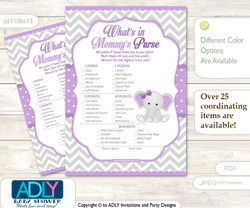 Girl Elephant What is in Mommy's Purse, Baby Shower Purse Game Printable Card , Purple Grey,  Chevron