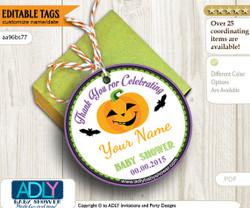 EDITABLE Halloween Thank You Favor Tag, pumpkin and bat halloween baby shower tag, thank you for celebrating shower, purple,green