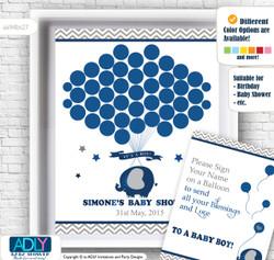 Peanut Elephant Word Search Game, Printable Card for Baby Elephant Shower DIY Dark BlueChevron Peanut Elephant Guest Book Alternative for a Baby Shower, Creative Nursery Wall Art Gift, Dark Blue, Chevron