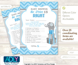 Printable Boy Elephant Price is Right Game Card for Baby Elephant Shower, Grey Blue , Chevron