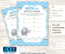 Boy Elephant Dirty Diaper Game or Guess Sweet Mess Game for a Baby Shower Grey Blue , Chevron