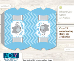 Boy Elephant Pillow Box for Candy, Little Treats or Small Gift of any Baby Shower or Birthday, Grey Blue  , Chevron