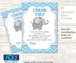 Boy  Elephant Thank you Cards for a Baby Boy Shower or Birthday DIY Grey Blue , Chevron