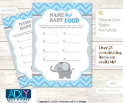Guess Baby Food Game or Name That Baby Food Game for a Baby Shower, Grey Blue  Chevron