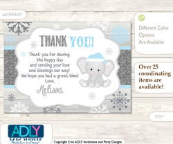 Snowflake Elephant Thank you Printable Card with Name Personalization for Baby Shower or Birthday Party