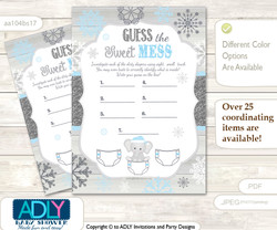 Snowflake Elephant Dirty Diaper Game or Guess Sweet Mess Game for a Baby Shower Grey Blue, Winter