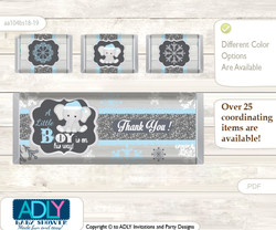 Snowflake Elephant Chocolate Bar Wrapper and Nuggets Candy Wrapper Label for Baby Snowflake Shower  Grey Blue , Winter