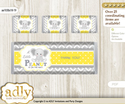 Grey Elephant Chocolate Bar Wrapper and Nuggets Candy Wrapper Label for Baby Grey Shower  Yellow , Chevron