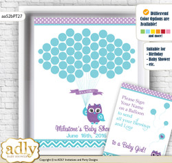 Girl Owl Guest Book Alternative for a Baby Shower, Creative Nursery Wall Art Gift, Teal Purple, Chevron