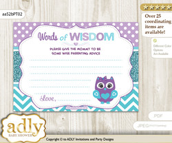 Teal Purple Girl Owl Words of Wisdom or an Advice Printable Card for Baby Shower, Chevron