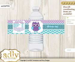 Girl Owl Water Bottle Wrappers, Labels for a Owl  Baby Shower, Teal Purple, Chevron