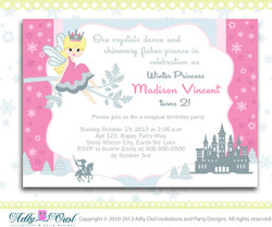 Winter Fairy Princess Girl Birthday Invitation card  with Snowflakes, castle,prince, crown, winter birthday - ONLY digital file - ao57