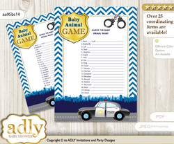 Printable Boy Police Baby Animal Game, Guess Names of Baby Animals Printable for Baby Police Shower, Sheriff, Chevron