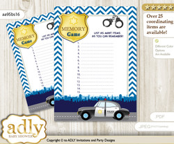 Boy Police Memory Game Card for Baby Shower, Printable Guess Card, Sheriff, Chevron
