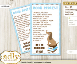 Request a Book Instead of a Card for Boy Dog Baby Shower or Birthday, Printable Book DIY Tickets, Blue, Sausage