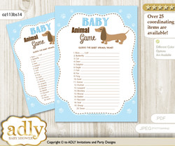 Printable Boy Dog Baby Animal Game, Guess Names of Baby Animals Printable for Baby Dog Shower, Sausage, Blue
