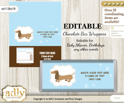 Personalizable Boy Dog Chocolate Bar Candy Wrapper Label for Boy  baby shower, birthday Sausage , Blue