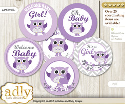 Baby Shower Girl Owl Cupcake Toppers Printable File for Little Girl and Mommy-to-be, favor tags, circle toppers, Chevron, Purple Grey