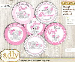 Baby Shower Girl Elephant Cupcake Toppers Printable File for Little Girl and Mommy-to-be, favor tags, circle toppers, Chevron, Grey Pink