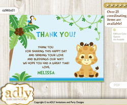 Boy Giraffe Thank you Printable Card with Name Personalization for Baby Shower or Birthday Party