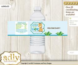 Boy Giraffe Water Bottle Wrappers, Labels for a Giraffe  Baby Shower, Blue Green, Safari