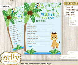 Boy Giraffe Wishes for a Baby, Well Wishes for a Little Giraffe Printable Card, Safari, Blue Green