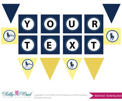 Boy Polo Personalized  Banner Printable Card for Baby Polo  Shower DIY navy yellow sport shower - ONLY digital file