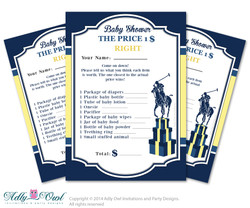 Boy Polo Price is Right Game Printable Card for Baby Polo  Shower DIY navy yellow sport shower - ONLY digital file