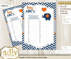 Boy Elephant Baby ABC's Game, guess Animals Printable Card for Baby Elephant Shower DIY – Chevron