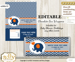 Personalizable Boy Elephant Chocolate Bar Candy Wrapper Label for Boy  baby shower, birthday Chevron , Chevron