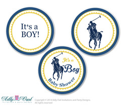 Boy Polo Candy Kisses circles Printable for Baby BoyShower DIY navy yellow , sport shower